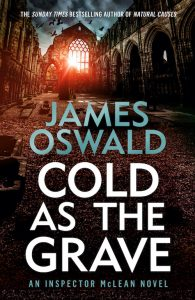 Cover image for Cold As The Grave, book nine in the Inspector McLean series by James Oswald. Image shows dawn sun through window of ruined stone abbey.